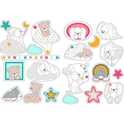 Nattou Stickers Muraux pour Chambre d'Enfants, 2 Feuilles, Mia et Basile, 50 x 70 cm, Blanc/Brun/Bleu/Rose