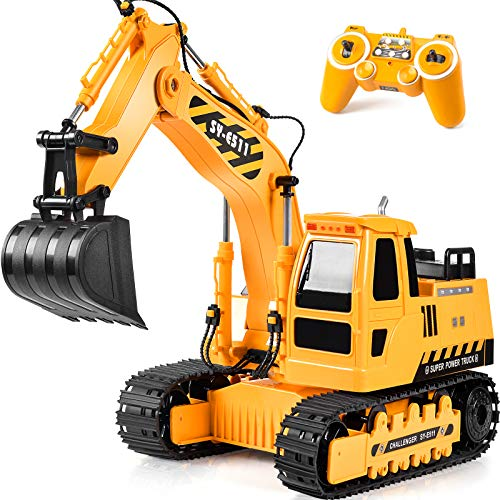 Remote Control Excavator RC Toy 1:20 RC Excavator Fully Functional Construction Tractor, 11 Channel Rechargeable RC Truck with Lights Sounds 2.4Ghz Transmitter for Boys Girls Kids