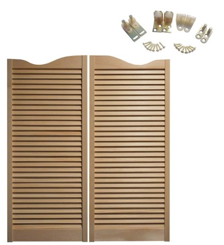 "Cafe Doors Premade: Made from Sturdy Pine Wood-Cafe Doors Hinges Included (36""x42"", Brass)"