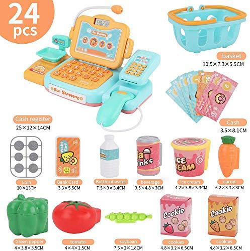 SKAJOWID Juego De Juguetes para La Caja Registradora del Supermercado para Niños, Smart Cash Register Pretend Play Toys con Calculadora, Escáner, Dinero, Tarjeta De Crédito Y Juguetes (24 Piezas)