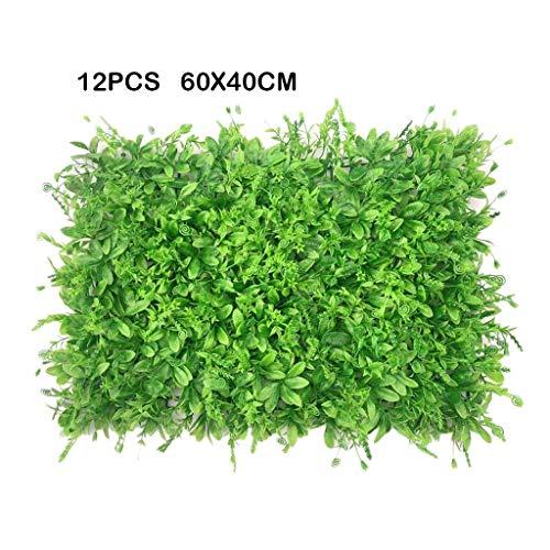 PING- 12 Künstliche Faux Hedges Panels, Trimmen Sie Sichtschutz Zaun Bildschirm Grünes Brett 60x40cm, UV-Schutz Mit Kabelbinder Eingezäunte Gartenzaundekoration Im Freien (Color : B)
