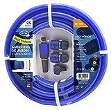 S&M 553059 553059-Manguera Azul Reforzada Blue Garden con Accesorios(Lanza de riego y Conectores) Rollo 25 m Ø15 Interior x Ø20 mm (diámetro Exterior) Anti-dobleces