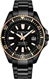 Stuhrling Original Watches for Men - Pro Diver Watch - Sports Watch for Men with Screw Down Crown for 330 Ft. of Water Resistance - Analog Dial, Quartz Movement (Black/Black)