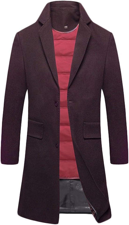SK Studio Men's Slim Fit Winter Warm Long Jacket Overcoat Wool Trench Coat Outwear