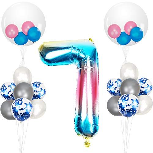 Herefun 23 Piezas Foil Globo Número Azul Arcoiris Gradient kit, Gigante Numeros 0 1 2 3 4 5 6 7 8 9, para La Boda Aniversario Bienvenida Al Bebé, Cumpleaños Fiesta Decoración Adultos y Niños (7)