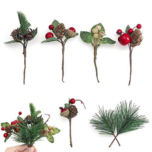 21 Pezzi Rami di Pino Natalizio, Plettri di Pino Artificiale per Fiori Natalizi, 6 Stili per Natale Corone Casa Vaso Decor,Cartolina d'auguri di Natale Decorazione Ghirlanda Fai da Te