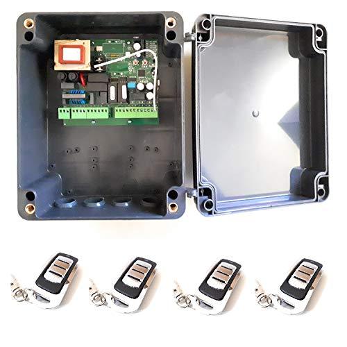 Kit Central electronica MC2 maniobras puerta parking garaje batiente de 1 o 2 hojas con paro suave y receptor incorporado y 4 mandos a distancia de alta seguridad y gran alcance, material profesional.