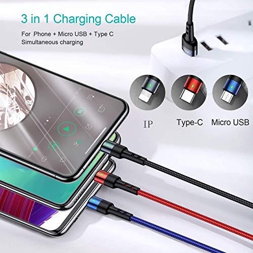 USAMS Multi USB Kabel 3M/ 10FT, 3 in 1 Handy Ladekabel 3 Meter lang, Phone+ USB C+ Micro USB Dreifach Universal für Samsung Galaxy S10 S9 S8 S7 Huawei P30 P20 Xiaomi alle Smartphones