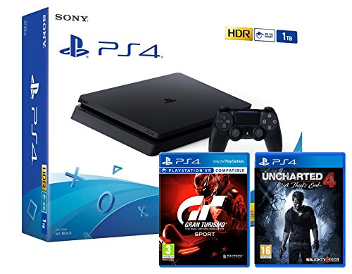 PS4 Slim 1Tb Konsole - 2 Spiele Bundle - Uncharted 4: A Thief's End + Gran Turismo Sport