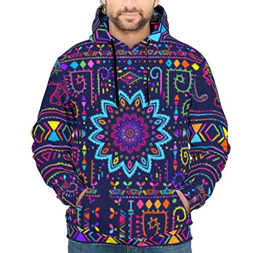 Lotus Mandala Elephant-Mirror Athletisch Grafik Herren Pull Over Hoodie mit Pocket Unisex White s