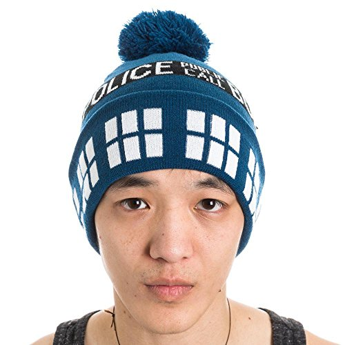 Dr Who Police Box Public Call Tardis Pom Beanie Doctor