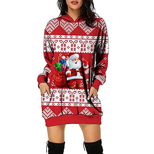 Wszbdoh Maglione di Natale da donna, per adolescenti, topolini, Natale, maglione con cappuccio, Colore: rosso, L