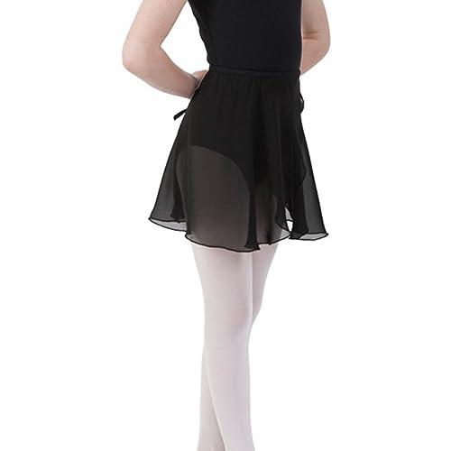 Bezioner Jupe de Ballet Danse Portefeuille en Mousseline pour Enfants Femme  avec Ceinture Cravate 7dd8802d9be