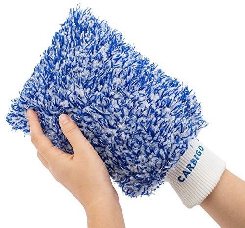 Carbigo® Profi Waschhandschuh Auto – Extrem saugstarker Autowaschhandschuh – Idealer Mikrofaser Handschuh und Felgenhandschuh – Perfekt für Nassreinigung von Autos, Motorräder oder Haushalt (Blau)