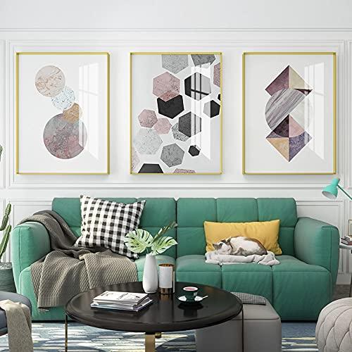 Cuadro geométrico moderno lona decoración de la pared del cartel abstracto decoración para el hogar imágenes para el arte de la pared del interior 15.7 x 23.6 pulgadas (40 x 60 cm) x3 sin marco