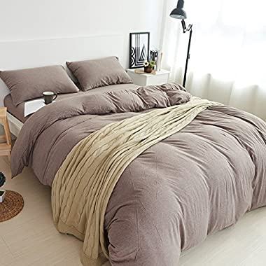 Adyonline 3 Pcs Jersey Cotton Comforter Cover Set Solid Pattern(1 Duvet Cover,2 Pillow Shams) Bedding Set---Breathable&Lightweight\Coffee,King