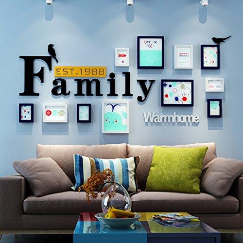 QX IAIZI Familiefoto-frame-wand-set combinatie-feesten houten fotolijst collageen-woonkamer televisiesofa-achtergrond muur