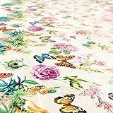 ANRO Wachstuchtischdecke Wachstuch Wachstischdecke Tischdecke Schmetterlinge Wiese Blumen Beige 100 x 140cm - 3