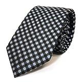 Mexx Seidenkrawatte blau anthrazit grau schwarz kariert - Krawatte Seide