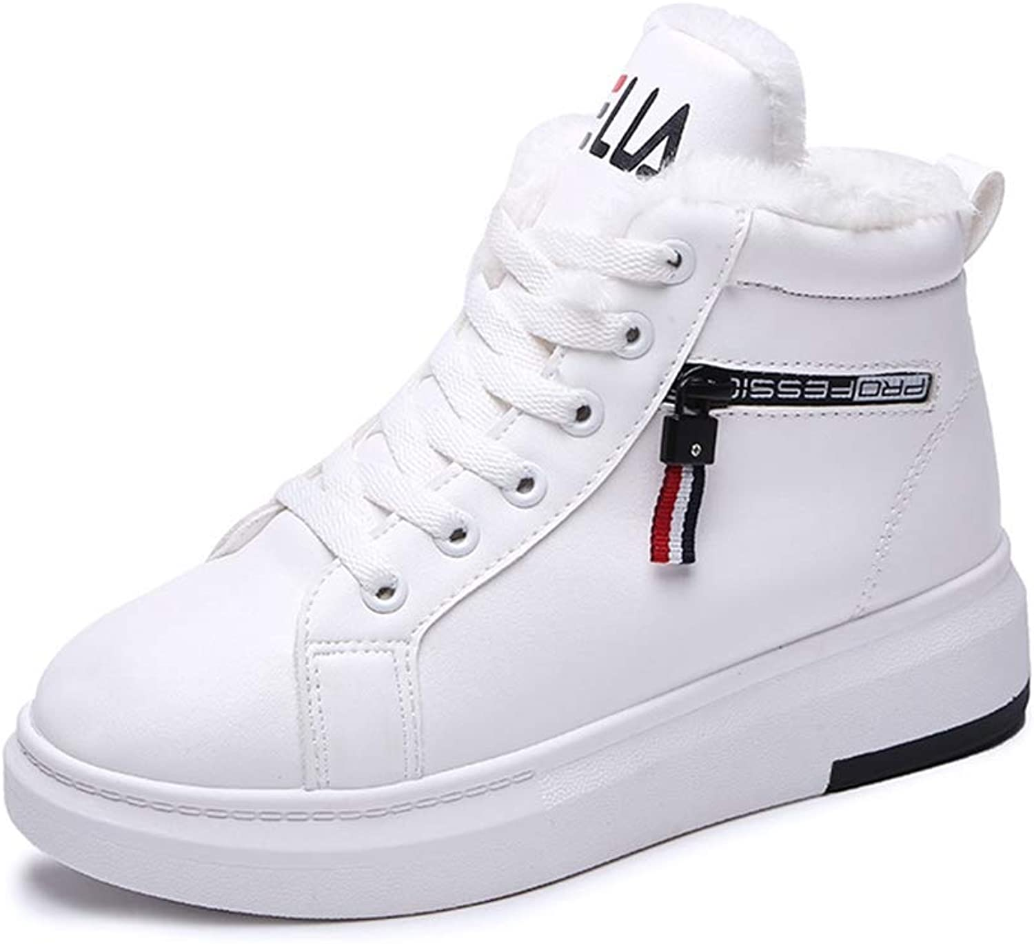 Gcanwea Winter Fashion Black White Casual Wedge Sneakers Ladies Lace Up Leather Flats shoes White 6 M US