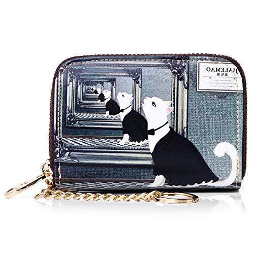 APHISON カードケース レディース カード入れ ミニ財布 じゃばら式 財布 人気 磁気防止 軽量 動物柄 花柄 カワイイ ギフト ボックス付き 1942-1 黒いネコ017