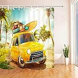Cartoon Auto Duschvorhänge Sommer Ocean Beach Urlaub Surfen Coconut Tree Bad Set Wasserdichter Polyester Stoff Vorhang