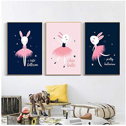 Woplmh schilderij met canvas schattige ballerina konijnen kinderkamer muurkunst canvas poster afdrukken voor baby Nordic Home Decoration kind geschenk 40x60cmx2Pcs geen lijst