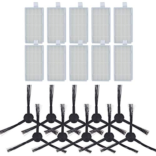 DingGreat 20 filtros de repuesto y cepillos laterales para robot aspirador ILIFE V3 V3s V5 V5s V5s Pro