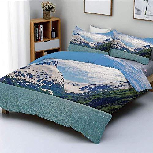Juego de Funda nórdica, montaña y Lago en Anchorage Alaska Springtime Sunny Day Scenic View Picture Juego de Cama Decorativo de 3 Piezas con 2 Fundas de Almohada, Verde Azulado Blanco