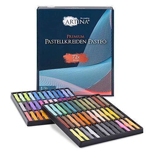 Artina Pastellkreide Pasteo 72er Set - Softpastellfarben in Studio Qualität als feine Kreide Stifte Softpastellkreide Weichpastell für die Kunst