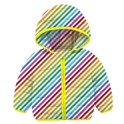 RAISEVERN 18-24Mese Giacca Casual da Ragazza Cappotto Leggero a Maniche Lunghe a Righe Colorate Cappotto con Cappuccio Bianco Blu Giallo per Bambini Vita Quotidiana