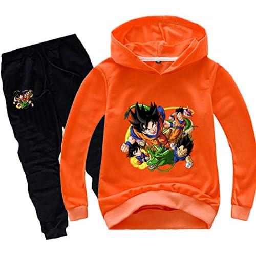 FLYCHEN Tuta con Motivo Dragon Ball Son Goku per Ragazzi e Bambini Felpa Goku Cappuccio Kakarotto Fans Top Cartoni Animali - Arancione - 130