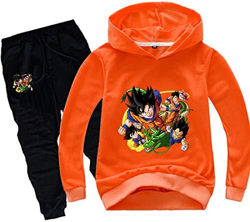 FLYCHEN Jungen Pullover Hosenanzug Dragonball Z Pullover und Schwarze Hose Kakarotto Super Son Goku Muster Druck Sunshine und lebhafter Stil(Orange,160)