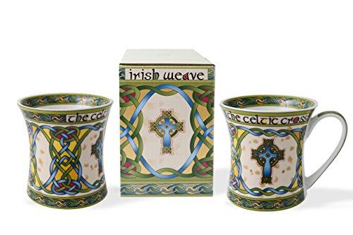 Royal Tara Irish Mug with Celtic Cross and Celtic Knots - New Bone China -325 ml/11 fl oz (Set of 2)