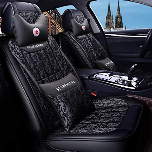 covers Automotive Protection Car Seat, Front And Rear 5 Seats Full Set of Universal Camouflage Fabric Leather Seasons Protectors Pad with Pillow (Color : Blue)