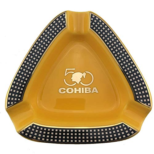 GUEVARA Cigar Ashtray Triangle Montecristo - Large Rest Unbreakable Outdoor Cigars Ashtray for Patio/Outside/Indoor Ashtray (Yellow)
