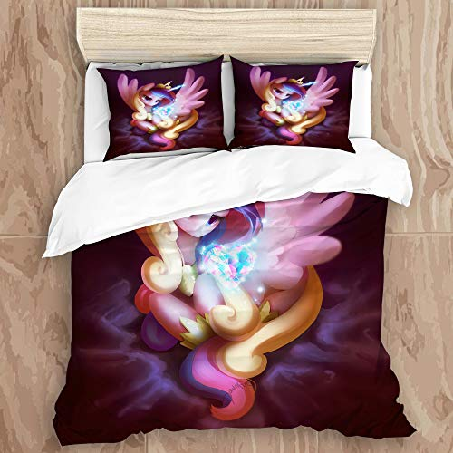 Wincosnd BYJHMJ Duvet Cover Set,3D Print My Little Pony,Friendship is Magic (11) Decorative 3 Piece Bedding Set with 2 Pillow Shams, Queen Size