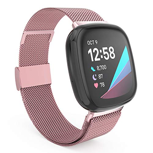last chance order the fitbit versa 3 in time for christmas HAYUL Bands Compatible with Fitbit Versa 3/Fitbit Sense for Women Men, Stainless Steel Metal Replacement Mesh Bracelet Strap Wristbands for Fitbit Versa 3/Sense Smart Watch (Small, Rose Gold)