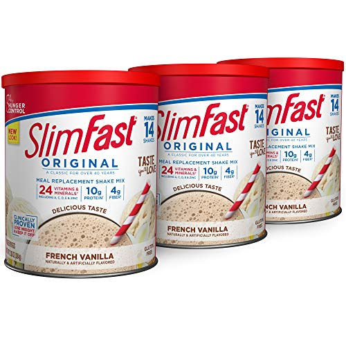 SlimFast Original French Vanilla Meal Replacement Shake Mix – Weight Loss Powder – 12.83 Oz. - 14 Servings (Pack Of 3) - Pantry Friendly