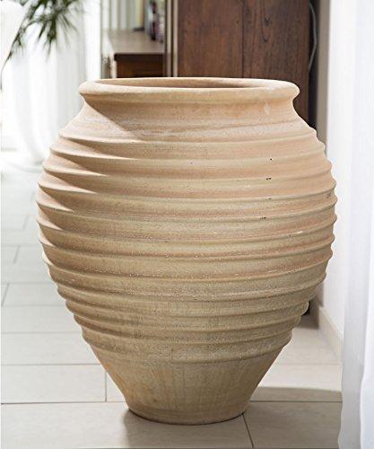 Céramique crète | Amphore méditerranéenne en terre cuite | 70 cm | antigel | amphore végétale de haute qualité pour le jardin, terrasse, balcon, ficus