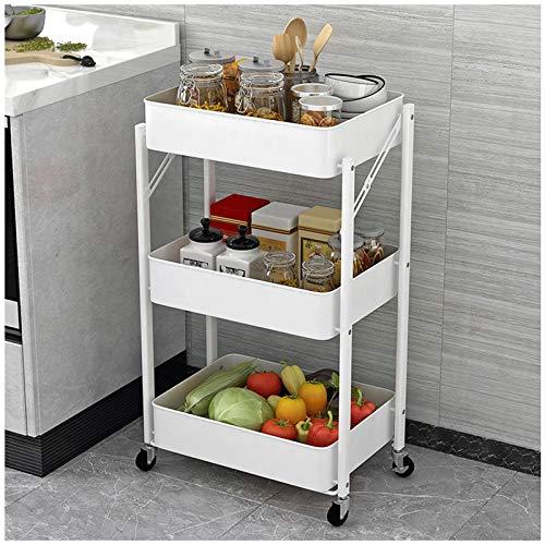 HUOJIANTOU Carrito de Cocina Plegable 3 Alturas Cocina Estante de Almacenamiento con 2 Frenos Carro de Utilidad para Espacios Pequeos y Estrechos Cocina Lavandera (Color : White)