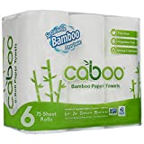 Caboo Tree Free Bamboo Paper Towels, 6 Rolls, Earth Friendly Sustainable Kitchen Paper Towels with Strong 2 Ply Sheets