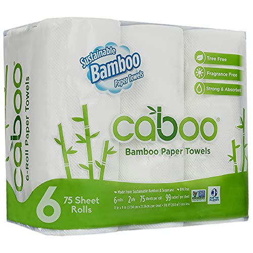 Caboo Tree Free Bamboo Paper Towels, 6 Rolls, Earth Friendly Sustainable Kitchen Paper Towels with...
