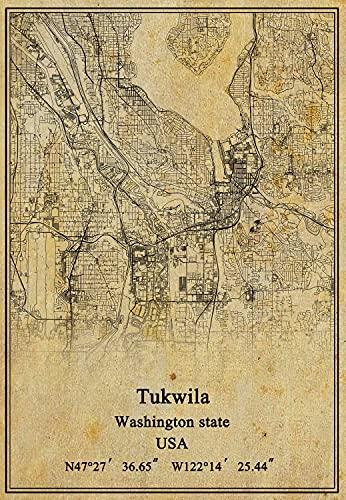 USA Washington state Tukwila Map Wall Art Poster Canvas Print Vintage Style Unframed Decor Gift 18X24 inch