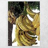 AZTeam Póster E Impresiones, Pintura De Plátanos Colgantes Amarillos sobre Lienzo, Pared Familiar, Sala De Estar, Arte, Decoración De Pared, 50X70 Cm Sin Marco