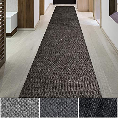 iCustomRug Spartan Weather Warrior Duty Indoor/Outdoor Utility Berber Loop Carpet Runner, Area Rugs, 3ft,4ft,6ft Widths 70 Custom Sizes with Natural Non-Slip Rubber Backing 3' X 16' in Brown