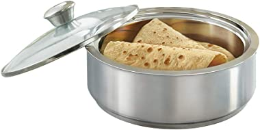 Borosil - Stainless Steel Insulated Roti Server, 1.1 Litres, Silver