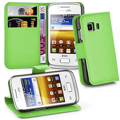 Cadorabo Hülle für Samsung Galaxy Young 2 - Hülle in MINZ GRÜN – Handyhülle mit Kartenfach und Standfunktion - Case Cover Schutzhülle Etui Tasche Book Klapp Style