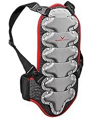 Black Crevice Rugbeschermer voor kinderen, jongeren en volwassenen, zwart-rood-zilver