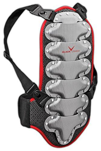 Black Crevice Rückenprotektor für Kinder, Jugendliche und Erwachsene, schwarz-rot-Silber, BCR035572, Gr. S